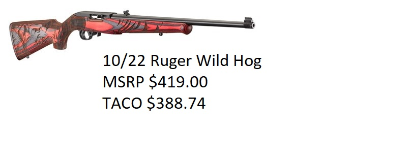 10 22 WILD HOG 22LR RED LAM MSRP 419.00 TACO 388.74
